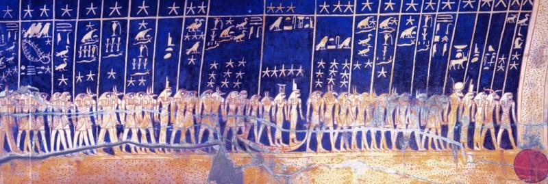 Soffitto astronomico della tomba di Seti I, Valle dei Re, Tebe. Particolare del lato Sud.