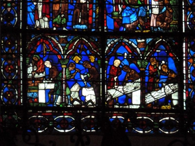 scalpellini nelle vetrate di Chartres